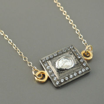 Topaz Necklace - Gold Necklace - Gemstone Necklace - Mixed Metal Necklace - White Topaz Necklace - Square Necklace -  Birthstone - handmade