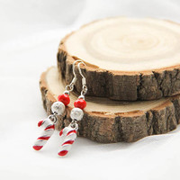 Christmas Peppermint Earrings, Candy Peppermint Earrings, Holiday Earrings, Red White New Year Earrings