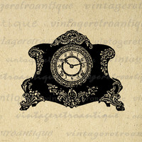 Antique Clock Image Printable Download Illustration Digital Graphic Vintage Clip Art for Transfers Printing etc HQ 300dpi No.1336
