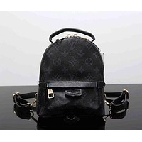 LV Louis Vuitton Fashion Casual Women Print Shoulder Bag Bookbag Backpack School Bag Black I