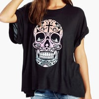 Skull Print Roll Up Sleeve Tunic Top