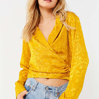 UO Jacquard Tie Wrap Top | Urban Outfitters