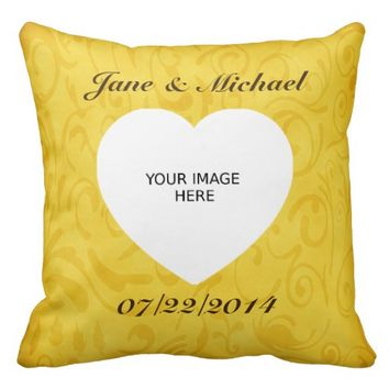 Names Wedding Date and Photo Spring Pattern Pillow