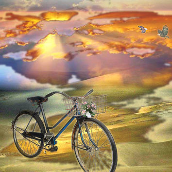 """bicycle art trippy psychedelic landscape print original collage """"The Bicycle Trip"""" 8 x 10"""