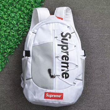 Supreme Fashion Canvas Backpack College High School Bag Travel Bag White I-AA-XDD