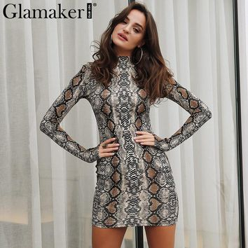 Glamaker Sexy snake print winter dress Women long sleeve bodycon dress Elegant autumn turtleneck female short party club dress