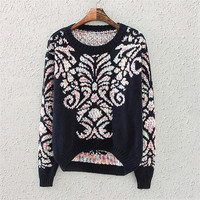 Navy Blue Porcelain Print Knit Sweater
