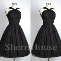 Black Strapless Lace-up Short Empired Bridesmaid Celebrity dress ,Simple Chiffon Evening Party Prom Dress Homecoming Dress