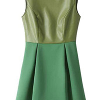 Green Pu Panel Crew Skater Dress