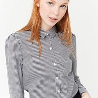 Gingham Curved Hem Shirt