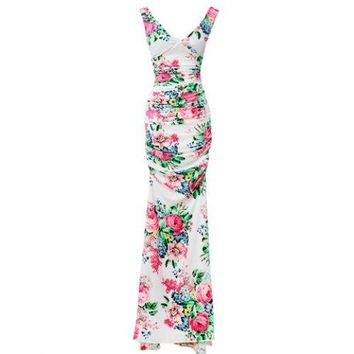 Floral Print Ladylike Style V-Neck Sleeveless Polyester Women's Maxi-Dress