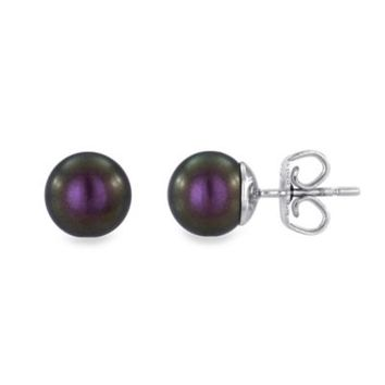 Majorica Plated Sterling Silver Simulated Round Tahitian Black Pearl 8mm Stud Earrings