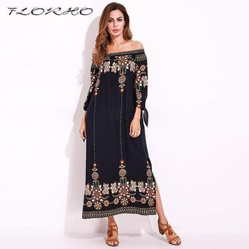 SHIPS FROM USA Flower Print Loose Off Shoulder Split Maxi Dress / Tunic SHIPS FROM USA