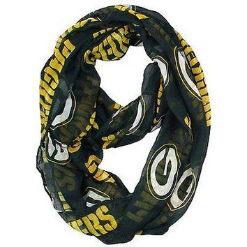 NFL Green Bay Packers Sheer Infinity Scarf, One Size, Green