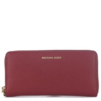 Michael Kors Mercer Zip Around Travel Continental Leather Wallet