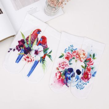 Foot 22-25cm Silk Socks Skull Parrot Coloured Painted Drawing Camellia Painting Rose Rosella Peony Jaba Mulberry Moth Orchid Sox