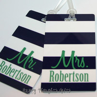 Set of TWO Personalized Rectangle Luggage Bag Tags - Mr. and Mrs. - Choose your design