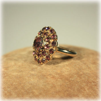 Purple Rhinestone Cocktail Ring Adjustable Amethyst