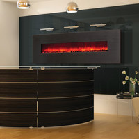 "Wall-Mount LED Fire Effect Electric Fireplace 102"" Metallic Black Frame"