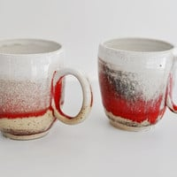 Coffee Cup Tea Mug in White Red and Beige