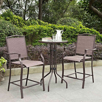 Outdoor 3-Piece Bar Height Patio Furniture Bistro Set with Steel Frame in Bronze Finish