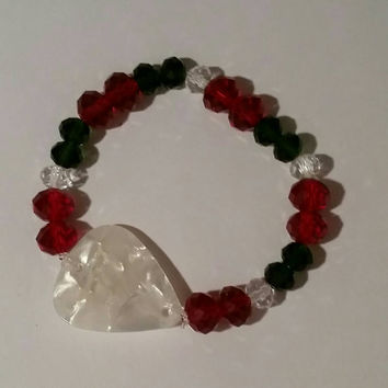 Guitar Pick Jewelry by Betsy's Jewelry- Bracelet - Christmas  Jewelry - Holiday  - Glass Beads - Upcycled Jewelry