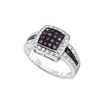 14k White Gold Cognac-brown Colored Diamond Womens Cluster Square-shape Cocktail Ring 1/2 Cttw