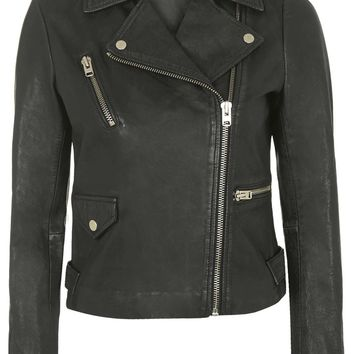 TALL Washed Leather Jacket | Topshop