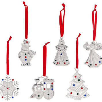 Lenox Set of 6 Silver Plated Crystal Gem Charm Ornaments in Gift Boxes