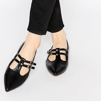 London Rebel T Bar Pointed Flat Shoes