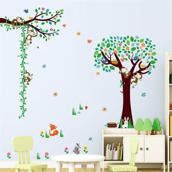 animals zoo cartoon tree Monkey DIY home decor wall sticker children height growth chart measure for kids room nursery decal