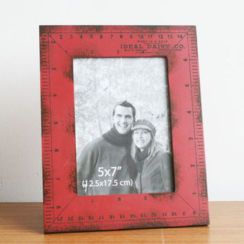 Retro Style Red Wood Ruler Photo Frame Picture Frame Home Decor Table 7'' x 5''