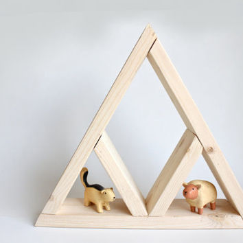 Handmade Small triangle wood shelf for display. Geometric triangle wall art shelf with cute animals. Reclaimed Wood Shelf.