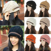 Women's Fashion Braided Autumn Winter Warm Baggy Beanie Knit Crochet Hat