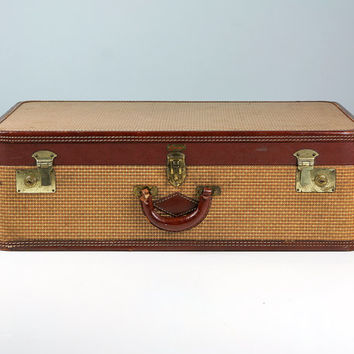 Vintage Suitcase, Two Tone Brown and Tweed, Suitcase Vintage 1940s, Antique Suitcase, Tweed Suitcase, Old Suitcase, Vintage Travel