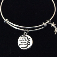 Double Sided I Love You to the Moon and Back with Shooting Star Stamped Word Quote on Expandable Bracelet Adjustable Silver Wire Bangle Gift Trendy Stacking