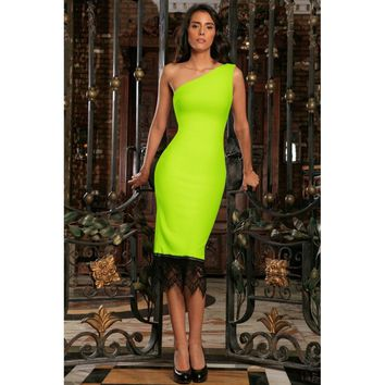 Neon Yellow Stretchy One-Shoulder Bodycon Summer Midi Dress - Women