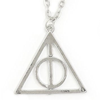 Deathly Hallows Necklace Silver Tone Esoteric Triangle NR68 Spinning Circle Pendant Fashion Jewelry