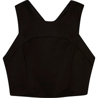 River Island Womens Black cross back crop top