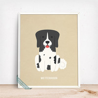 Wetterhoun Print, Wetterhoun Poster, Dog Print, Dog Breed, Frisian Water Dog, Otterhoun, Dutch Spaniel, Dog Decor, Fathers Day Gift