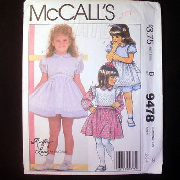 Girls Dress & Vest Pattern Toddler Sizes 2, 3, 4 McCall's 9478 Sewing Pattern Uncut