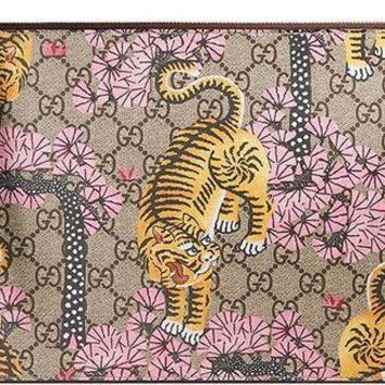 Gucci Gg Bengal Blossoms Pink Tiger Pouch Box Authentic Leather Wrist Zip Strap Italy New