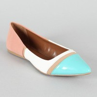 Qupid Site-19 Tri-Tone Pointy Toe Ballet Flat