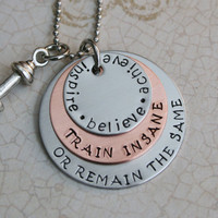 "Workout Jewelry, Hand stamped Custom Stainless Steel ""Train Insane"" with motivational disc Weightloss Motivational Jewelry Personal trainer"
