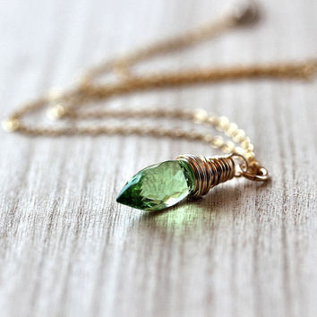 Necklace Peridot Green Quartz Briolette Wire by GlitzGlitter