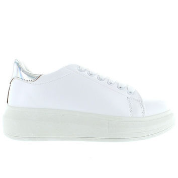 Wanted Chervil - White/Silver Lace-Up Platform Wedge Sneaker