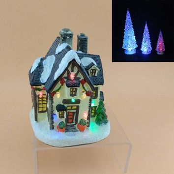 LED 5inch Resin Christmas led lighting house village and 3pcs acrylic LED lamp light tree Christmas tree and house for gifts