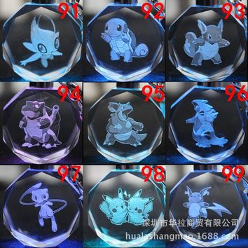 Pocket Monster cartoon key chain  Blastoise Charmander Pikachu LED Light Crystal Pendant Keychain kid toy Package LlaveroKawaii Pokemon go  AT_89_9