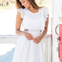 White Embroidered Short Dress with Ruffles