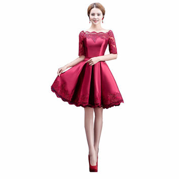 Gold White Multi Lace Short Elegant Red Cocktail Dresses Wamen Satin Prom Dress Vestidos De abiye festa Robe De Soiree Courte BK